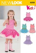 6255 New Look Pattern: Toddlers' Dress with Knit Bodice
